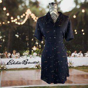 Eddie Bauer button up collared dress with pockets